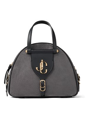 Jimmy Choo VARENNE BOWLING/S Dusk Suede and Black Vacchetta Leather Bowling Bag with Gold JC Logo
