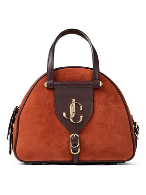 Jimmy Choo VARENNE BOWLING/S Rust Suede and Aubergine Vacchetta Leather Bowling Bag with Gold JC Logo