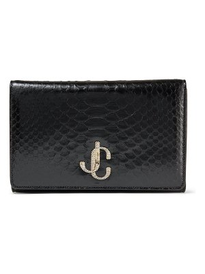 Jimmy Choo VARENNE CLUTCH Black Python Clutch Bag with Crystal JC logo