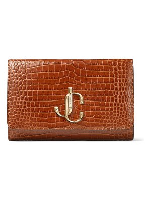 Jimmy Choo VARENNE CLUTCH Cuoio Croc Embossed Leather Clutch Bag with JC logo