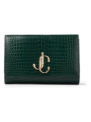 Jimmy Choo VARENNE CLUTCH Dark Green Croc Embossed Leather Clutch Bag with Gold JC Logo