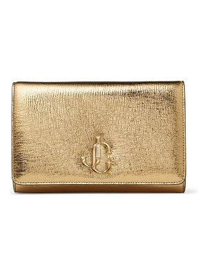 Jimmy Choo VARENNE CLUTCH Gold Metallic Vintage Leather Clutch Bag with JC Emblem