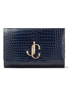 Jimmy Choo VARENNE CLUTCH Navy Croc Embossed Leather Clutch Bag with JC logo
