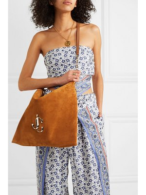 Jimmy Choo varenne leather-trimmed suede shoulder bag