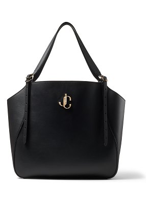 Jimmy Choo VARENNE TOTE Black Leather Tote Bag with JC Emblem
