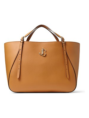 Jimmy Choo VARENNE TOTE E/W Cuoio Leather Tote Bag with JC Emblem