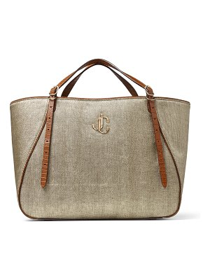 Jimmy Choo VARENNE TOTE E/W Natural Lamé Raffia Tote Bag with JC Emblem