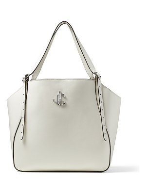 Jimmy Choo VARENNE TOTE Latte Leather Tote Bag with JC Emblem