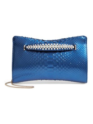 Jimmy Choo venues genuine python clutch with crystal bracelet handle