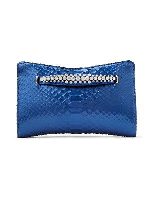 Jimmy Choo VENUS Cobalt Liquid Python Clutch Bag with Gold Metal Fringe Bracelet