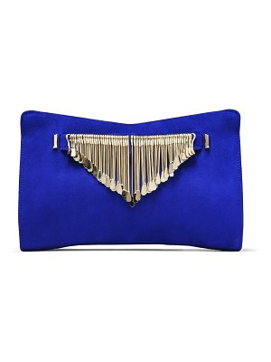 Jimmy Choo VENUS Cobalt Suede Clutch Bag with Gold Metal Fringe Bracelet