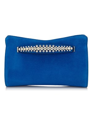 Jimmy Choo VENUS Electric Blue Suede Clutch Bag