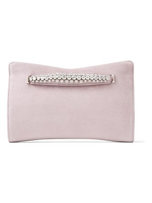 Jimmy Choo VENUS Mauve Suede Clutch Bag with Jewelled Bracelet