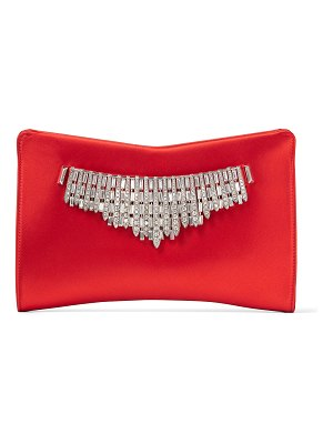 Jimmy Choo VENUS Red Satin Clutch Bag with Tiara Crystals