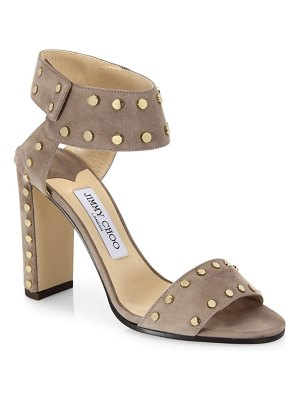 Jimmy Choo Veto Studded Suede Block Heel Sandals