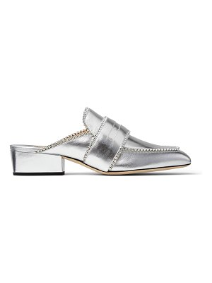 Jimmy Choo YK-BLOAFER Silver Metallic Leather Backless Slipper with Crystals