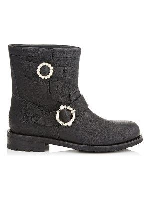 Jimmy Choo YOUTH Black Satin Lamé Leather Biker Boots with Pearl Embellished Buckles