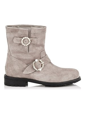 Jimmy Choo YOUTH Opal Grey Velvet Suede Biker Boots with Pearl Embellished Buckles
