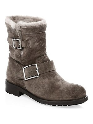 Jimmy Choo youth suede & shearling ankle boots