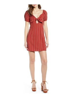 J.O.A. stripe tie front cotton & linen mini dress