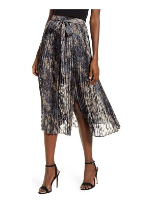 J.O.A. tie waist pleated midi skirt
