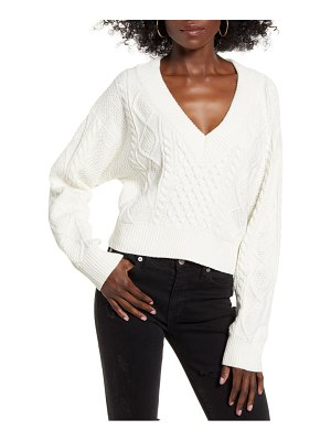 J.O.A. v-neck cable crop sweater