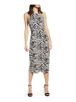 J.O.A. zebra print halter neck midi dress