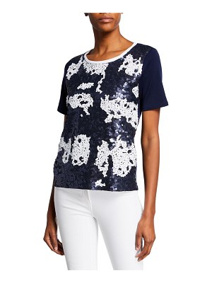 Joan Vass Colorblock Sequin-Front Short-Sleeve Zip-Back Top