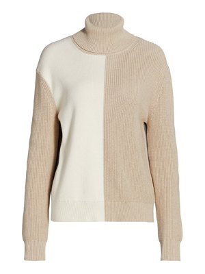 Joan Vass colorblock turtleneck sweater