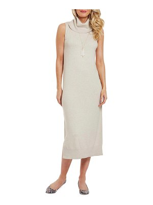 Joan Vass Cowl-Neck Sleeveless Long Sweater Dress