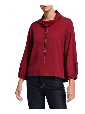 Joan Vass Dolman Cowl-Neck 3/4-Sleeve Top