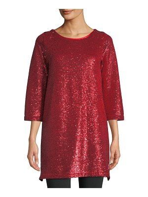 Joan Vass Easy 3/4-Sleeve Sequin Tunic