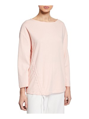 Joan Vass Long-Sleeve Cotton Interlock Top with Ruching & Tie Detail