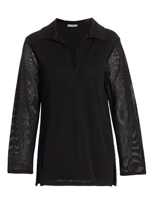 Joan Vass mesh notch shirt