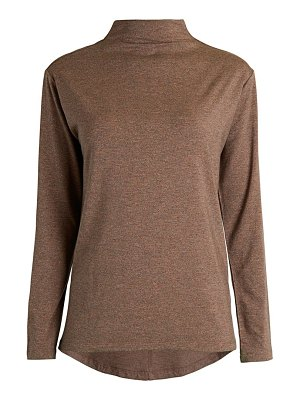 Joan Vass Mockneck Long-Sleeve Knit Top