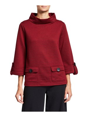 Joan Vass Ottoman Two-Pocket 3/4-Sleeve Pullover