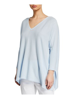 Joan Vass Oversized V-Neck Ribbed-Sleeve Cotton Sweater