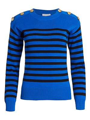 Joan Vass petite button-shoulder striped pullover