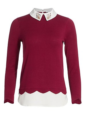 Joan Vass petite jewel embellished layered shirt sweater