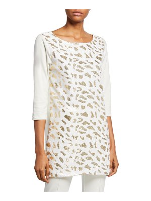 Joan Vass Sequin Animal 3/4-Sleeve Cotton Interlock Tunic