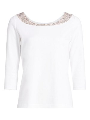 Joan Vass sequin boatneck top
