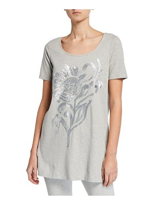 Joan Vass Sequin Flower Short-Sleeve Cotton Interlock Tunic