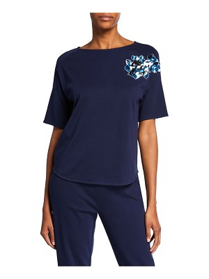 Joan Vass Sequined Flower Short-Sleeve Cotton Interlock Tee