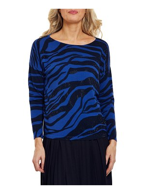 Joan Vass Sparkly Animal Print Cotton Sweater