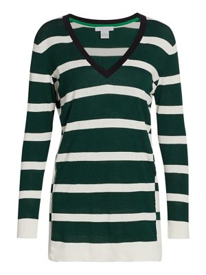 Joan Vass striped v-neck pullover