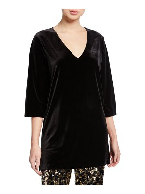 Joan Vass V-Neck 3/4-Sleeve Velvet Easy Tunic