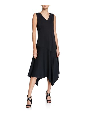 Joan Vass V-Neck Tank Dress with Asymmetric Hem