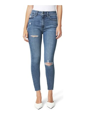 Joe's the charlie ripped high waist raw hem crop skinny jeans