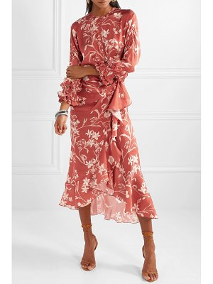 Johanna Ortiz botanical gardens ruffled wrap-effect silk-satin twill midi dress