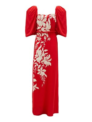 Johanna Ortiz floral themes embroidered crepe de chine dress